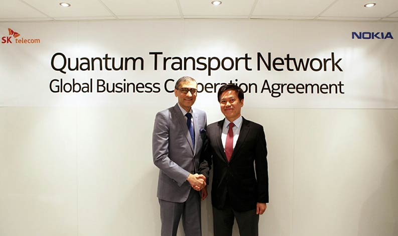 SK Telecom and Nokia entered into an agreement to cooperate in the quantum cryptography business at Mobile World Congress 2017 in Barcelona. Under the agreement, SK Telecom and Nokia will conduct joint research and development activities to achieve interworking between SK Telecom's Quantum Key Distribution System (QKD) and Nokia's optical transport system.