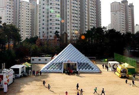 22일 각리초 운동장에 설치된 티움 모바일의 모습.